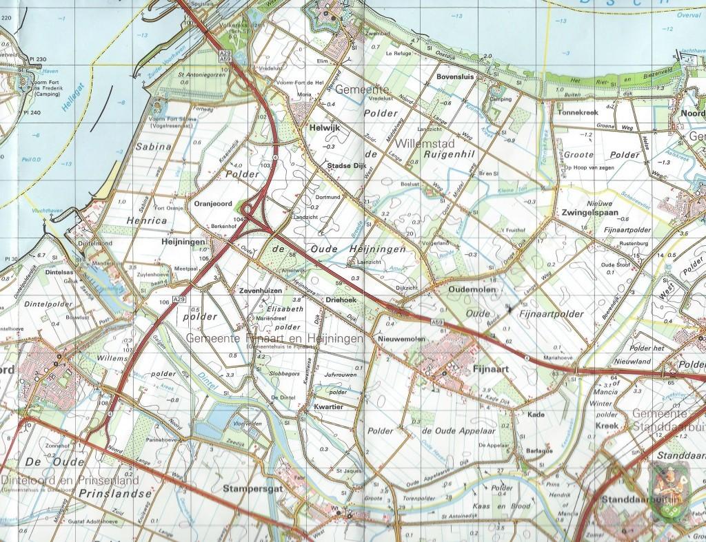 Kaart van Fijnaart en Heijningen